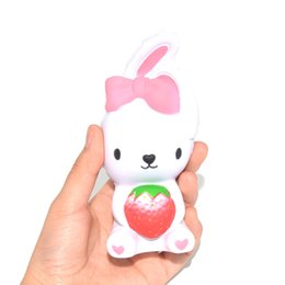 Rabbit toy online shopping - Cute Bow Strawberry Rabbit Squishy Decompression Toys Squishies Animal Shape Children Toy Collectibles Multi Color mn CR