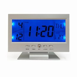 Home Office Electronics NZ - New Digital Alarm Clocks lcd Electronic Table Sound Control Smart Multifunction Mute Clock Travel Home Office Desk Clocks 2018