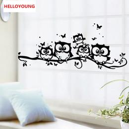 Korean Cartoon Wallpaper Australia - DIY Wall Sticker Creative Cartoon Black Owl Wallpapers Art Mural Waterproof TV Wall Stickers Home Decor Backdrop