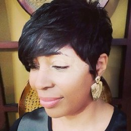$enCountryForm.capitalKeyWord Canada - Rihanna short human hair wigs Celebrity african american Wigs For Black Women Black Color Layered Lambskin Short Pixie Cut Wigs