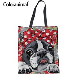 $enCountryForm.capitalKeyWord Australia - Coloranimal Women Fashion Tote Bag 3D Floral Boston Terrier Print Foldable Reusable Shopper Bag Teenager Girl Canvas School