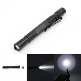 Flashlight Pens Wholesale Australia - Mini Aluminum Alloy LED Pen Flashlight Torch With Pocket Clip Portable Lamp Light for Outdoor Camping Night Light XP-E2 R3 NNA272