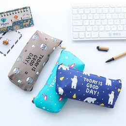 $enCountryForm.capitalKeyWord NZ - 1 Pieces Lytwtw's Cute Kawaii Animals New Pen Pencil Bag PU School Stationary Receive Makeup Pouch Cosmetics Case