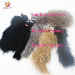 Artificial Chains Wholesalers Australia - 19cm Hot Sell Lovely Fluffy Fox Fur Key Chain Pom Pom Artificial Fur Keychain Women Girl Bag Charm Pendant Car Keyring Jewelry