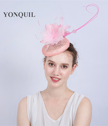 cfd0d69943d NEW ARRIVAL 17 colors Elegant Wedding Cocktail Hat with feather For Women  pink feather Banquets hat Ladies autumn Occasion Event Race SYF169