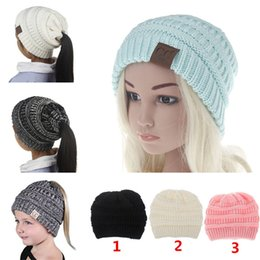 Discount thanksgiving beanie babies - 6 Colors Girls Baby CC Hats wool Ponytail Beanie Hats Crochet Winter Warm Knitted Caps Skullies Kids Female Knit Messy B