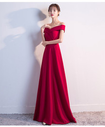 long elegant dinner dresses 2019 - Mingli Tengda 2018 New Red Off the Shoulder Evening Dresses Boat Neck Satin Prom Dresses Elegant Long Banquet Host Dress