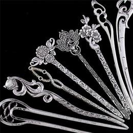 Hair Pin Stick Clips NZ - New Vintage Women Hair Sticks Pins Elegance Silver Alloy Geometric Girls Headbands Lady Gift Barrettes Hair Clip Accessories 1PC