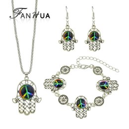 fanhua jewelry UK - FANHUA Vintage Jewelry Sets Antique Silver Color with Round Colorful Acrylic Hand Pendant Necklace Drop Earrings and Bracelet