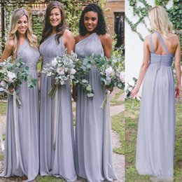Discount simple chiffon one shoulder wedding dress - Simple Demure Bridesmaid Dresses One Shoulder Backless Waist Sashes Wedding Guest Dress Chiffon Sweep Train Evening Gown