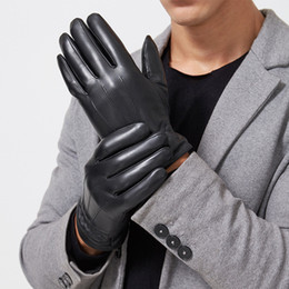 bamboo skin 2018 - Winter goat skin touch screen leather gloves handmade manufacturers wholesale warm driving touch men's leather glov
