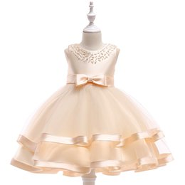 $enCountryForm.capitalKeyWord Australia - Princess Lace Dresses With Bead Host Performing Ball Gown Dress For Girls White TUTU Dress For Girl Size 110-150CM