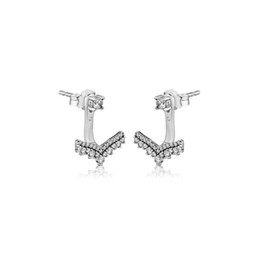 a7b70f016 Compatible with Pandora earrings 925 Sterling Silver Princess Wish Stud  Earrings For Women European Style Jewelry Original Fashion Charm