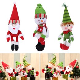 wine bottle cover santa claus snowman elf christmas decoration for home navidad christmas ornaments champagne bottle hold cover