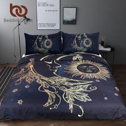 White Gold Bedding Canada - BeddingOutlet 3 Pieces Gold Moon Accompanys Sun Duvet Cover With Pillowcase Black Dark Blue Bedding Set King Size Quilt Cover
