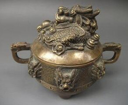 chinese fabric dragons UK - Chinese Asian Antique Dragon Bronze Censer Free Shipping