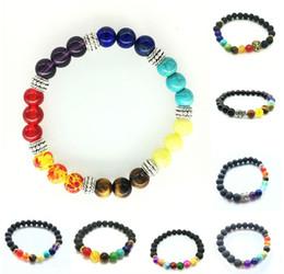 Reiki Healing Wholesalers Australia - Chakra Bracelet Women Lava Healing Balance Beads Reiki Buddha Prayer Natural Stone Men Bracelets