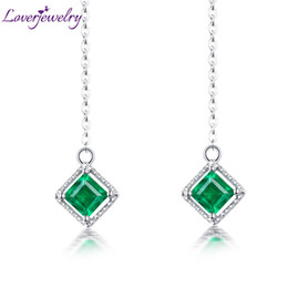 Discount god flowers Loverjewelry Plain Design Jewelry Solid 18K White God Natural Emerald Drop Earring for Elegant Ladies Loving Gift C18111