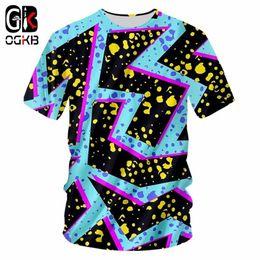 Discount t shirt flashing light - OGKB Summer Tops Men Casual Tshirt Cool Print Blue Flash Light 3D T-shirt Man Hiphop Short Sleeve O Neck Tee Shirts Drop