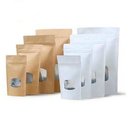 China New 50pcs White Kraft Paper Small Window Bag Coffee Nuts Tea Storage Ziplock Bag Snack Biscuit Window Gift Bags supplier biscuit snack bags suppliers