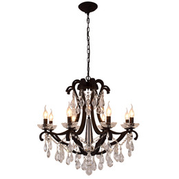 Chinese  New design iron crystal pendant lights K9 crystal chandelier light fixtures black chandeliers home decor American village style E14 holder manufacturers
