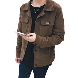 02807da0e20f1 Mens Browning Jackets UK - Korean Fashion Jacket Coat Men Corduroy  Turn-down Collar Pockets