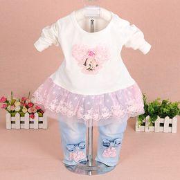 Branded Baby Kids Clothes Australia - Baby Girl Clothes 2018 Brand Fashion Lace Floral Denim Jacket +T -Shirt +Jeans Little Kids 3pcs Suit Set Toddler Infant Baby Suit Clothing