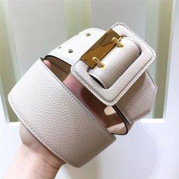 Men wide leather belt online shopping - Fashion designer belt accessories women pin buckle belt leather lychee texture super wide belt mm top quality simple popular style