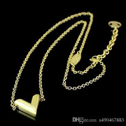 Heart Shaped Chains For Couples Australia - New high quality V-shaped stainless steel necklace 18K gold rose silver necklace come with dust bag for couples gift