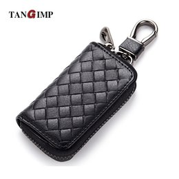 Wholesale TANGIMP New Unisex Car Key Holder Genuine Leather Purses Daily Use Male Wallet for Keys Wallets Women Weave Housekeeper Wallet