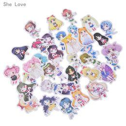 Stamp Paper Sticker Australia - Scrapbooking Stamping Stickers She Love 36pcs Sailor Moon Sticker Scrapbooking Paper Kawaii Cartoon Characters Supplies Stickers