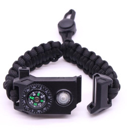 Food channel online shopping - 2019 adjustable design mix color Climbing Rope Survival Cord Bracelets Outdoor Paracord Bracelets with SOS LED Light Compass Hope Bangles