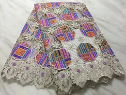 $enCountryForm.capitalKeyWord NZ - 5Yards pc Beautiful khaki african water soluble lace embroidery with colorful cotton fabric with beads and stone for dress BW8-3