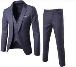 men s long wedding suit Australia - (Jacket+Vest+Pants) 2019 double breasted Men Suits Fashion wool Men's Slim Fit business wedding Suit men Wedding suit size S-6XL