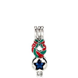 Chinese  Silver Enamel Merry Christmas Bowknot Garland Star Oysters Beads Cage Locket Pendant Aromatherapy Perfume Essential Oils Diffuser manufacturers