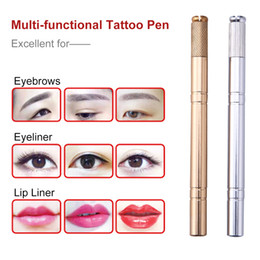 Blades manual tattoo makeup online shopping - Semi Permanent Eyebrow Tattoo Pen Permanent Makeup Manual Eyebrow Microblading Pencil Eyebrow Tattoo Blade Holder Stand Tool