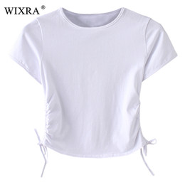 Shorts Tops For Womens Canada - Wixra Basic Fashion Tees 2018 Summer Tops Women Slim T-Shirt Woman Solid O-Neck Lace up Short Sleeve T Shirts For Womens