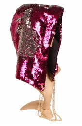 rave props NZ - Party Mermaid Sequin Hood Hats Magical Reversible Sequins Hat Rave Grand Event Stage performance Bling Cap Cosplay Props 4colors