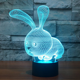 $enCountryForm.capitalKeyWord NZ - 3D LED Night Light Lovely Cartoon Rabbit 7 Color Change Table Animal Lamp Home Child Bedroom Decor Kids drop shipping Free Shipping