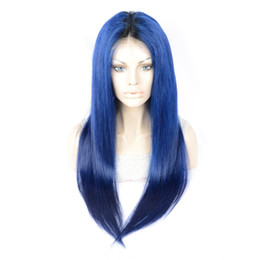 Two Tone Wigs 24 14 UK - T1b Blue Ombre Human Hair Glueless Full Lace Wigs For Black Women Two Tone Glueless Lace Front Wigs Straight Brazilian Virgin Hair