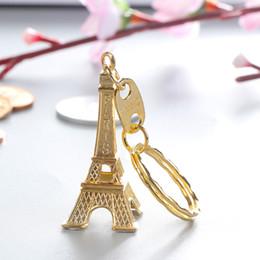 Eiffelturm Keychain stempelte Paris Frankreich Goldsplitter-Bronzenschlüsselringgeschenke Art- und Weisegroßverkauf Freies Verschiffen im Angebot