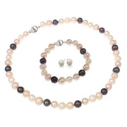 $enCountryForm.capitalKeyWord NZ - Hand made natural beautiful multicoloured 8-9mm cultured freshwater pearls necklace, bracelet earrings set fashion jewelry