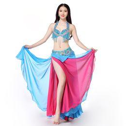 691a84ae40ac Women Dance Wear 2018 East Style Bellydance Clothes Oriental Outfits Beaded Belly  Dance Costume Set Bra Belt Skirt Long Fringe