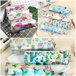 $enCountryForm.capitalKeyWord Australia - Flamingo Mermaid Cactus Waterproof Makeup Bags Pencil Case PU Laser Pen Bag Student Pen Box Stationery Halloween Christmas Gifts
