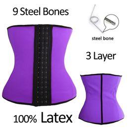 112ffff28d Slimbabe Latex Waist Trainer Corsets 9 Steel Boned Hot body Shapers XS-6XL  Tummy Control Belts Waist Cincher Girdles Workout