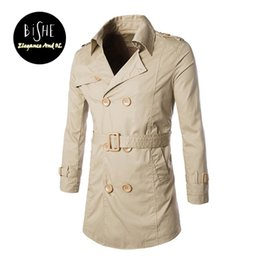f18f3eef95f Wholesale- Men s Casual Trench Coat Plus Size Jaqueta Masculina Fall Long  Double-breasted M L XL 2XL 3XL Khaki Black Trench Coats Jackets