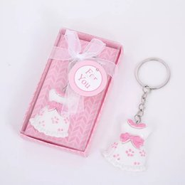 baby shower bags boxes UK - 10pc Pink Resin Baby Cloth Keychain Favors in Gift Box for Baby Boy Shower Birthday Wedding Party Gifts Guest Souvenirs