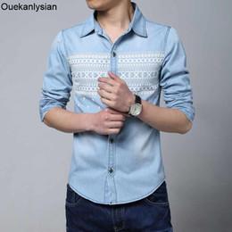 $enCountryForm.capitalKeyWord NZ - Ouekanlysian Denim Shirts Men Slim Fit Long Sleeve Jean Shirts Men 80% Cotton Print Roupas Masculinas Camisas Hombre Jeans