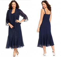 $enCountryForm.capitalKeyWord NZ - New Navy Blue Plus Size Mother of the Bride Dresses with Jacket 3 4 Sleeves Chiffon Mother Dresses Formal Evening Gowns