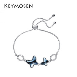Butterfly Chain Bracelets Silver NZ - New butterfly S925 sterling silver bracelet tail chain using of elements crystal